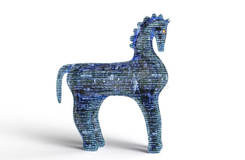 De computer trojan paard van het veiligheidsconcept op witte, 3D illus wordt geïsoleerd die royalty-vrije illustratie