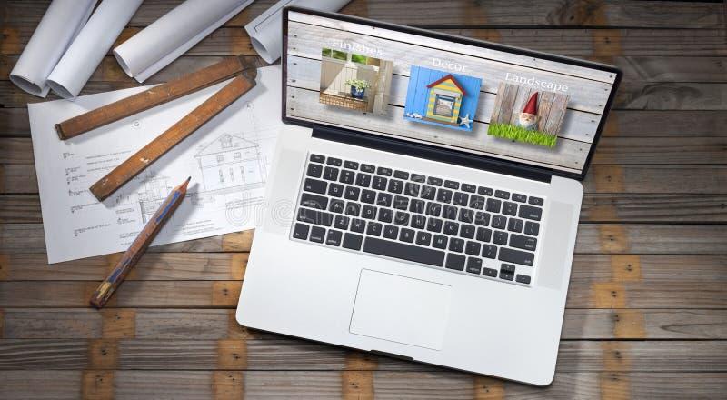 De Computer van architectuurplannen stock afbeelding