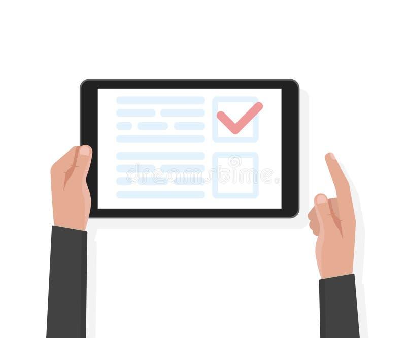 De computer van de de greeptablet van de mensenhand met test en stemmingsmalplaatje Vector illustratie royalty-vrije illustratie
