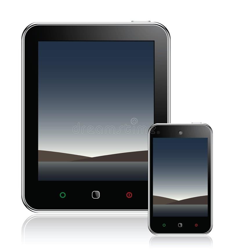 De Computer van de tablet & Mobiele Telefoon royalty-vrije illustratie