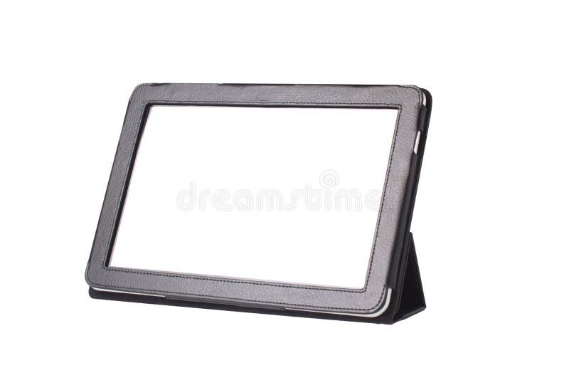 De computer van de tablet in dekking die op wit wordt geïsoleerd( stock fotografie