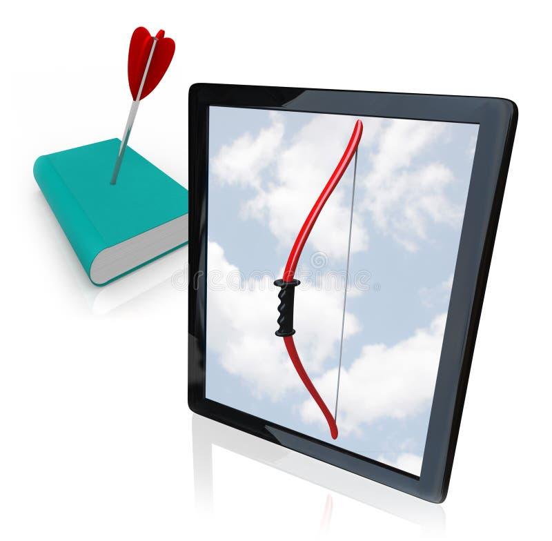 De Computer van de tablet versus Oud Afgedrukt Boek stock illustratie