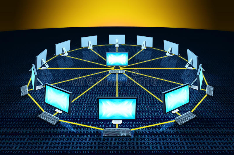 De computer verbindt netwerk het communiceren gegevens
