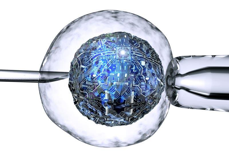 De computercel is binnen - tussen pipet en een neeldle royalty-vrije illustratie