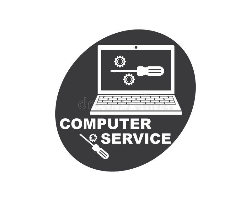 de computerdienst en het pictogram vectorillustratie van het reparatieembleem vector illustratie