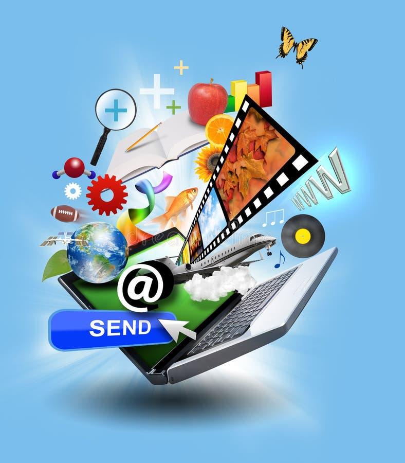 De computerLaptop van Internet met media Pictogrammen stock illustratie