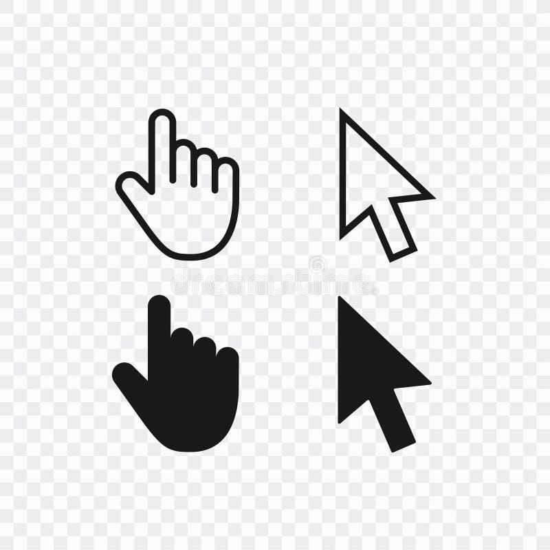De computermuis klikt geplaatste pictogrammen van de curseur de grijze pijl en ladingspictogrammen Curseurpictogram Vector illust stock illustratie