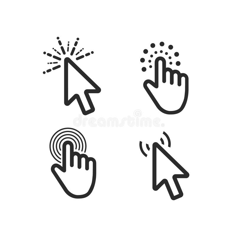 De computermuis klikt geplaatste pictogrammen van de curseur de zwarte pijl Vector illustratie