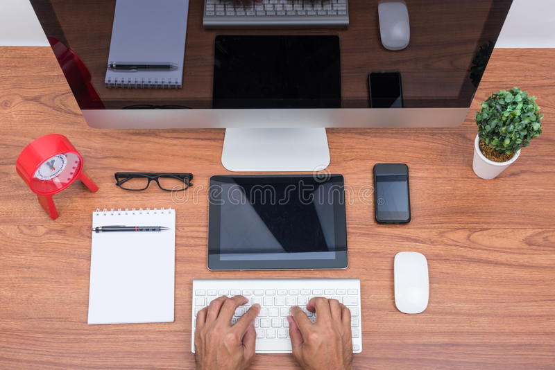 De computerpc van de bureaumonitor, stock foto