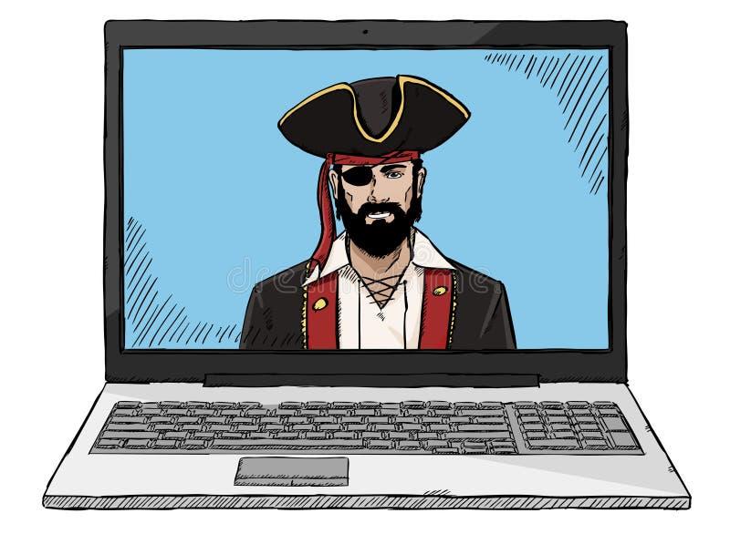 De computerpiraat van de schetsstijl kleurrijke het binnendringen in een beveiligd computersysteem laptop royalty-vrije stock afbeeldingen