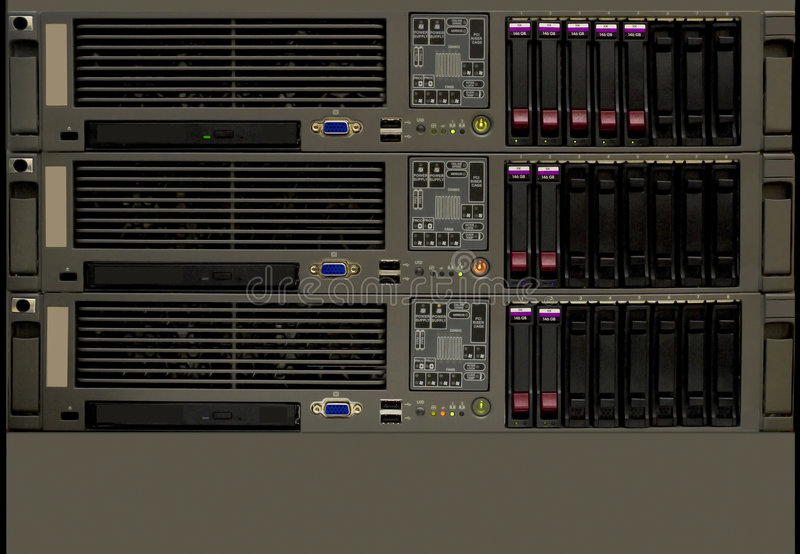 De computerservers van het rek stock afbeelding