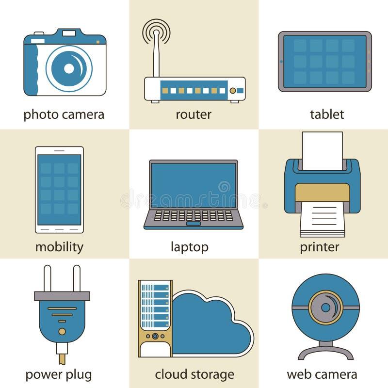 De computertechnologie en van verschillende media pictogrammen stock illustratie