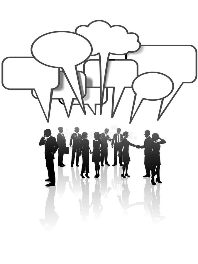De comunicaciones de la charla de la red hombres de negocios stock de ilustración