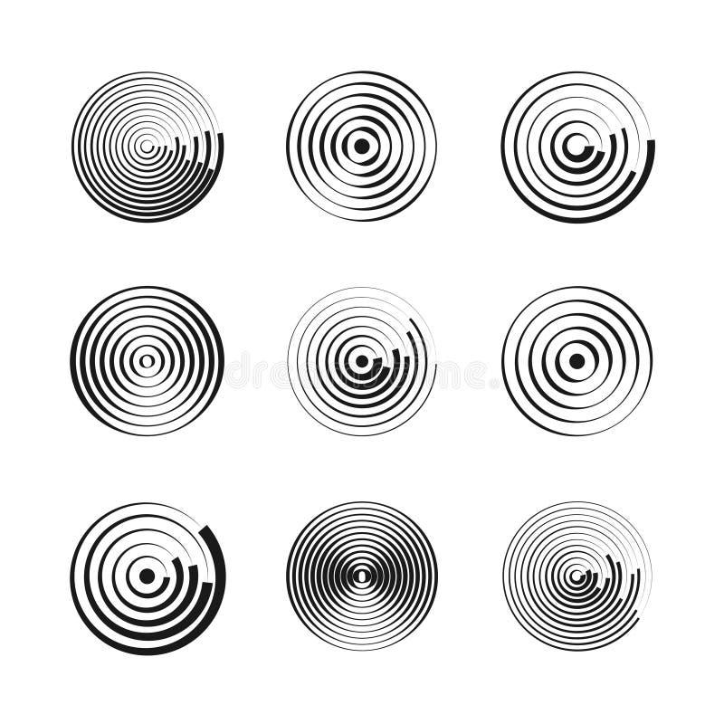 De concentrische cirkels vatten geometrische vectorpatronen samen Cirkelvormen en ronde golven Ringen met radiale lijnen royalty-vrije illustratie