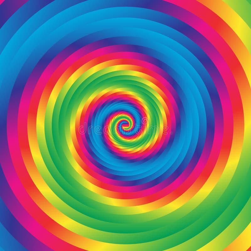 De concentrische kleurrijke spiraalvormige willekeurige cirkels van w Abstract rondschrijven royalty-vrije illustratie