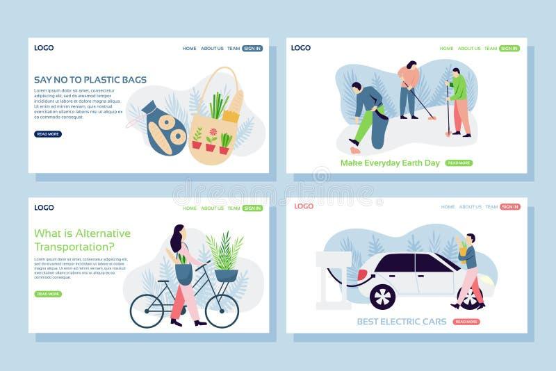 De concepten van de ecologiewebpagina De reeks van webpaginaontwerpsjablonen van katoenen zakken, schoonmakende straat, fiets en  vector illustratie