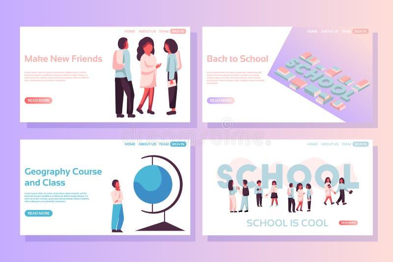 De concepten van de schoolwebpagina Webpaginaontwerpsjablonen van kinderen, isometrische school en boeken, aardrijkskundecursus e stock illustratie