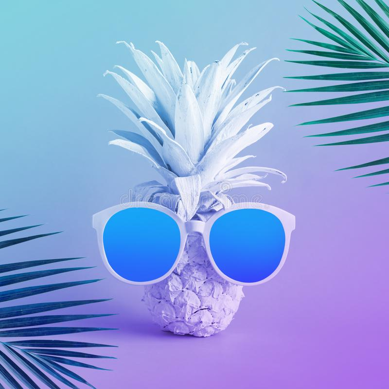 De concepten van de de zomervakantie met exotische ananas en zonnebril en kokosnotenblad in pastelkleur royalty-vrije stock afbeelding