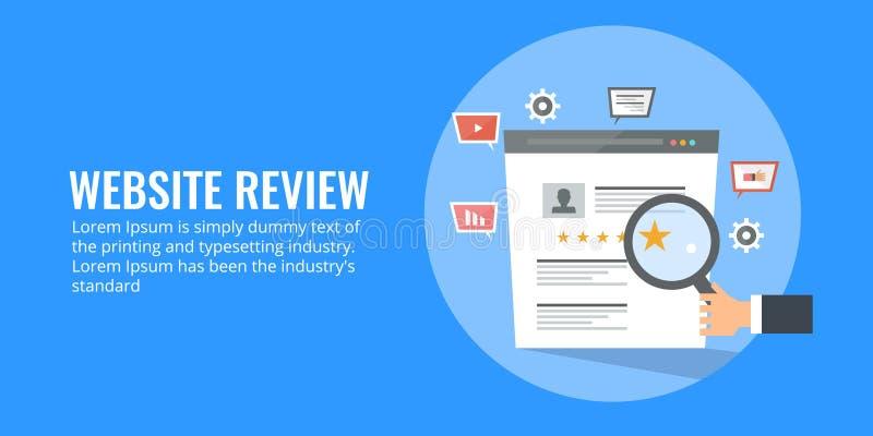 De conceptenillustratie van websiteoverzicht, koppelt, het schatten en huldeblijk terug Vlakke ontwerp digitale marketing vector stock illustratie