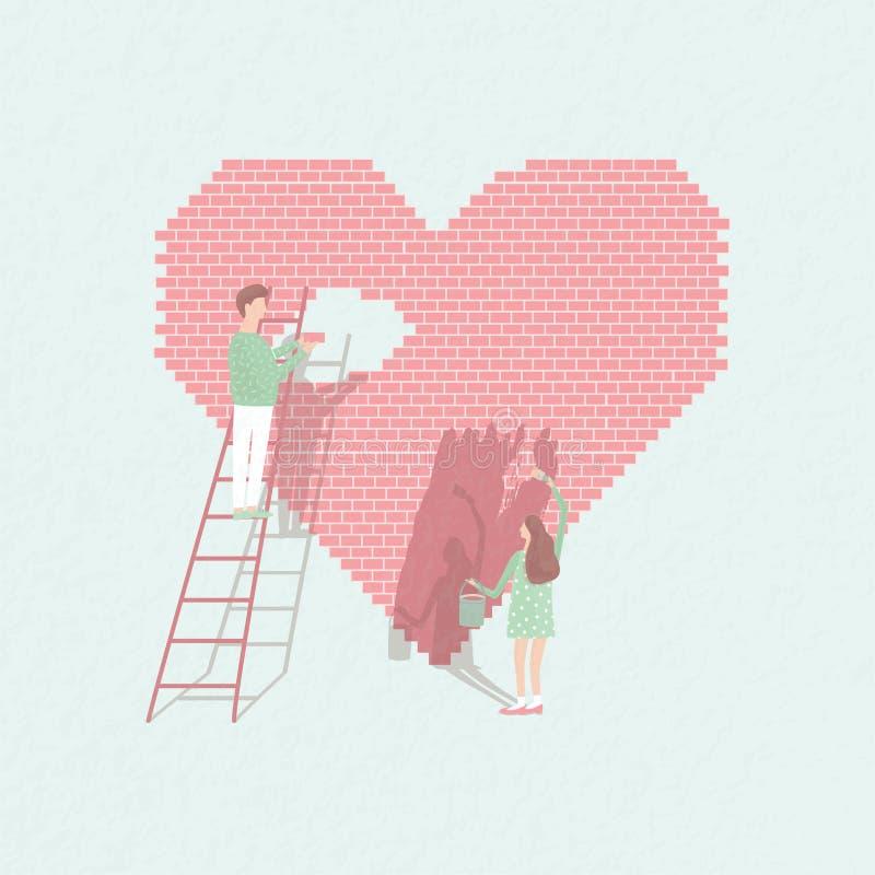 De conceptenliefde is het werk Het paar in liefde bouwt verhoudingen Leuk kerel en meisje op de achtergrond van baksteenhart Vect vector illustratie