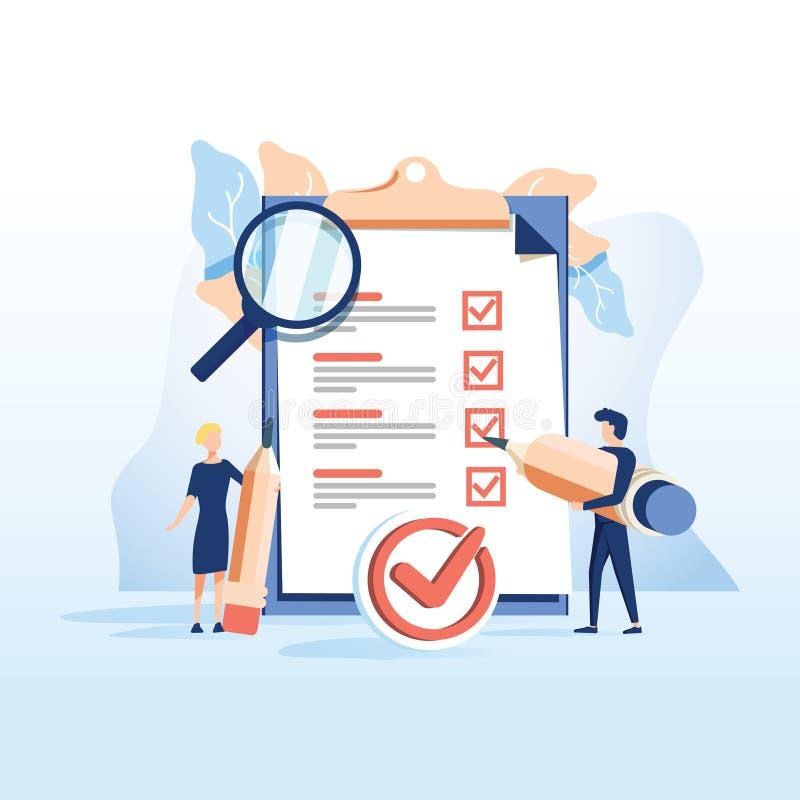 De conceptenmensen vullen een vorm in, aanvraagformulier voor werkgelegenheid de mensen selecteren een samenvatting voor een baan vector illustratie
