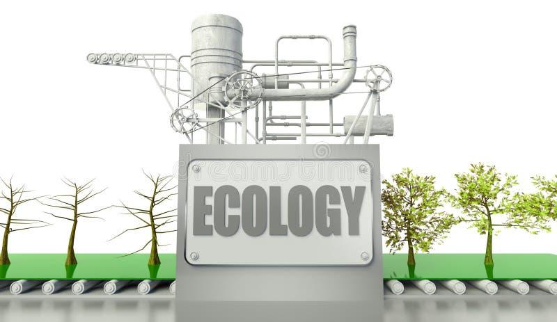 De conceptie van de ecologie met bomen en machine vector illustratie