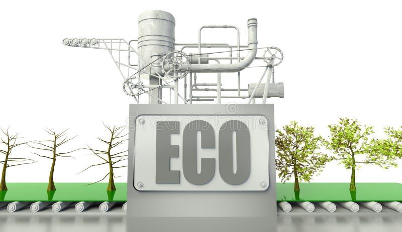 De conceptie van Eco met bomen en machine stock illustratie