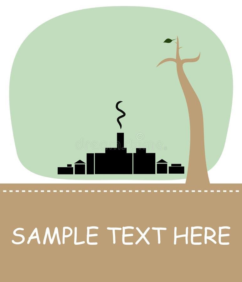 De conceptie van Eco met boom en rook - vector stock illustratie
