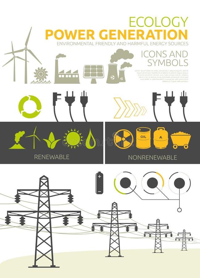 De conceptontwerpen van de machtsgeneratie stock illustratie