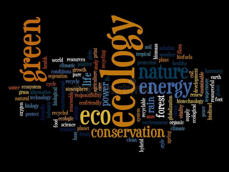 De conceptuele geïsoleerde wolk van het ecologiewoord vector illustratie
