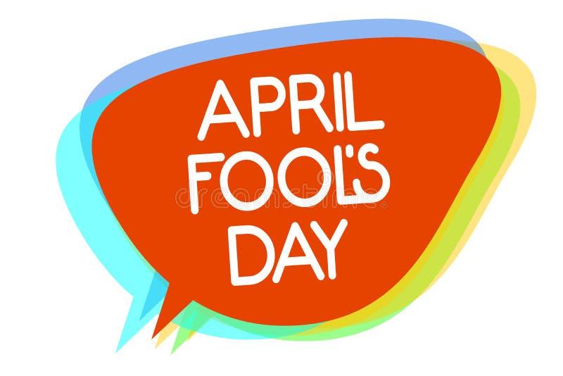 De conceptuele hand die tonend April Fool s is Dag schrijven De Viering van het humeurstreken van bedrijfsfoto demonstratiepoetse royalty-vrije illustratie