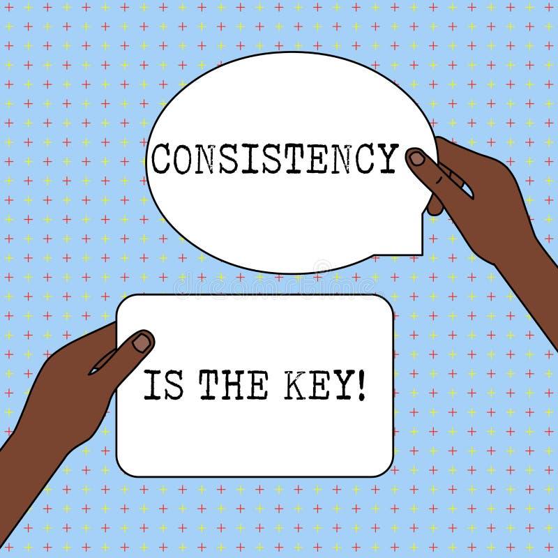 De conceptuele hand die tonend Consistentie is de Sleutel schrijven Bedrijfsfototekst door Gewoonte en van Breaking Bad Goede Deg stock illustratie