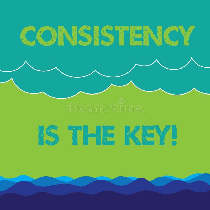 De conceptuele hand die tonend Consistentie is de Sleutel schrijven De volledige Toewijding van de bedrijfsfototekst aan een Taak vector illustratie