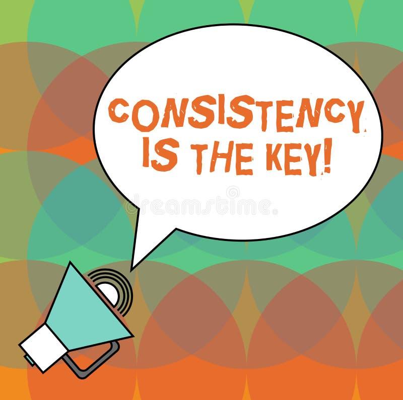 De conceptuele hand die tonend Consistentie is de Sleutel schrijven De volledige Toewijding van de bedrijfsfototekst aan een Taak stock illustratie