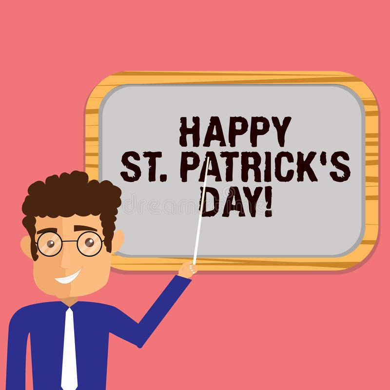 De conceptuele hand die tonend Gelukkige St Patrick S is Dag schrijven Bedrijfsfoto die de vierings groene gelukkige charmes demo stock illustratie