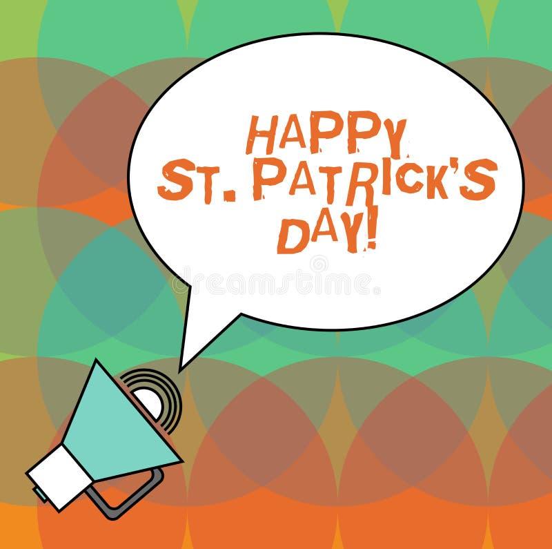 De conceptuele hand die tonend Gelukkige St Patrick S is Dag schrijven De vierings groene gelukkige charmes van Ierland van de be royalty-vrije illustratie