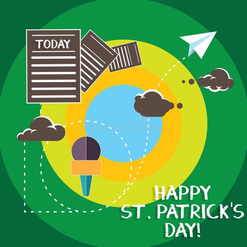 De conceptuele hand die tonend Gelukkige St Patrick S is Dag schrijven De vierings groene gelukkige charmes van Ierland van de be stock illustratie