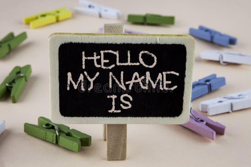 De conceptuele hand die tonend Hello Mijn Naam is schrijven Bedrijfsfoto demonstrerende vergadering iemand nieuw Inleidingsgespre stock afbeeldingen