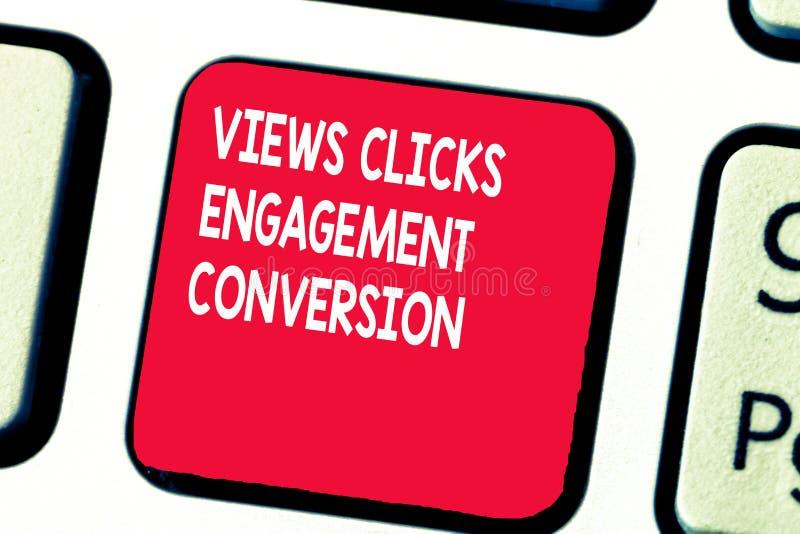 De conceptuele hand die tonend Meningen klikt Overeenkomstenomzetting schrijven Sociaal de media van de bedrijfsfototekst platfor stock afbeelding