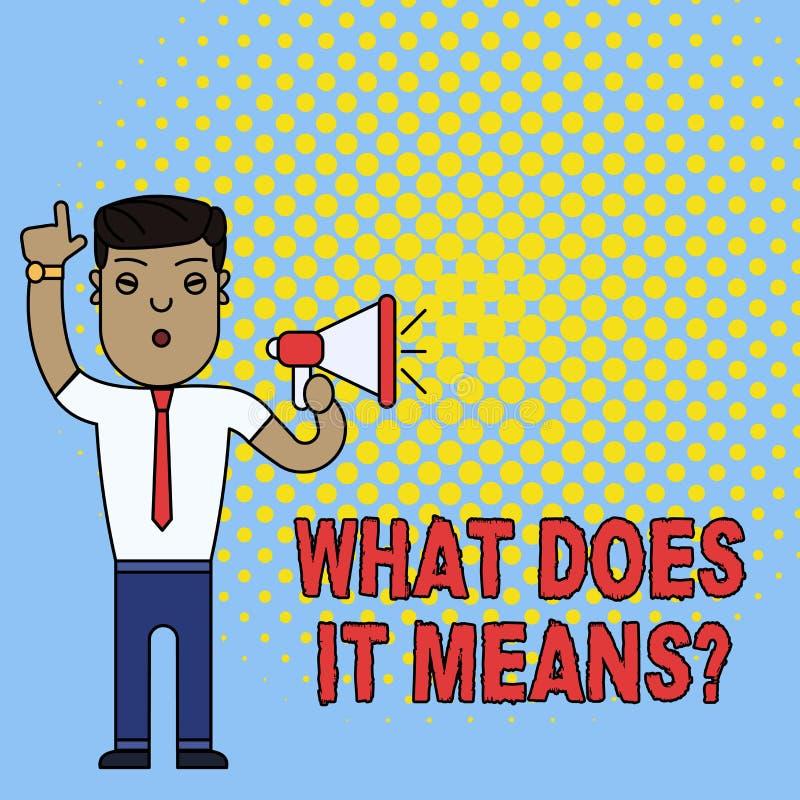 De conceptuele hand die tonend wat het schrijven doet betekent Vraag De bedrijfsfototekst die betekenend iets zei en doet vragen stock illustratie