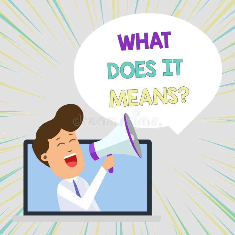 De conceptuele hand die tonend wat het schrijven doet betekent Vraag Bedrijfsfototekst die iemand vragen over het betekenen van i stock illustratie