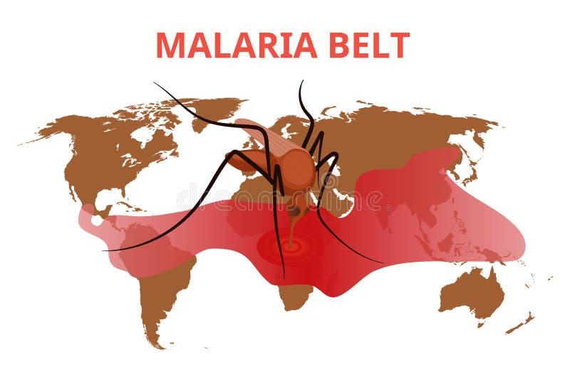 De conceptuele illustratie van de malariariem De mug zuigt bloed van de bloedvlek op de wereldkaart royalty-vrije stock foto