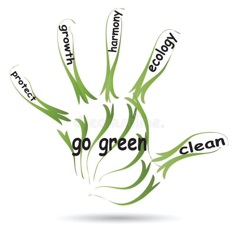 De conceptuele tekst van het de ecologieconcept van de handdruk stock illustratie
