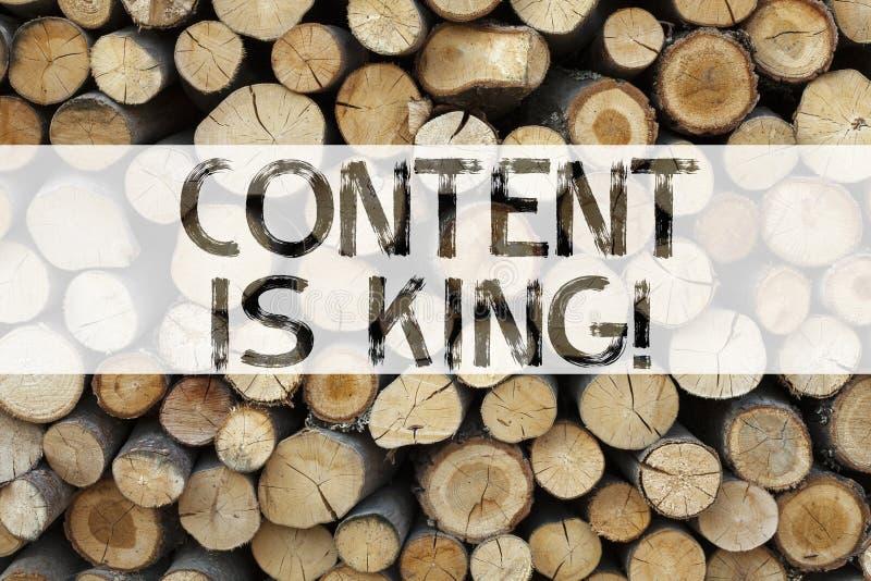 De conceptuele de titelinspiratie die van de aankondigingstekst Inhoud tonen is het concept van KoningsBusiness voor Zaken Op de  royalty-vrije stock fotografie