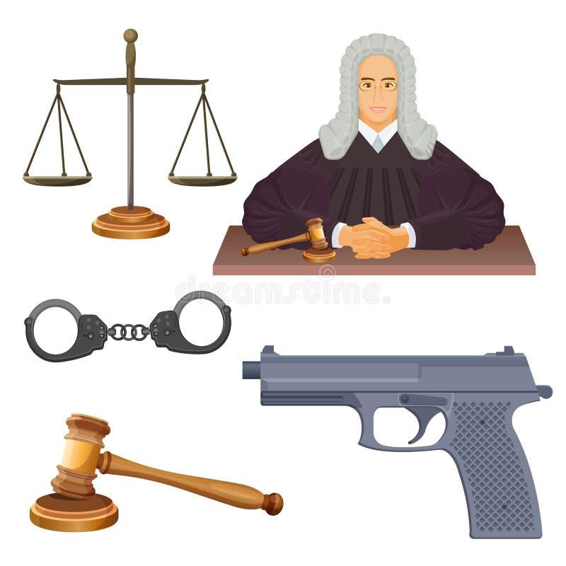 De conceptuele vectorillustratie van handhavingsagentschappen van rechter in robes stock illustratie