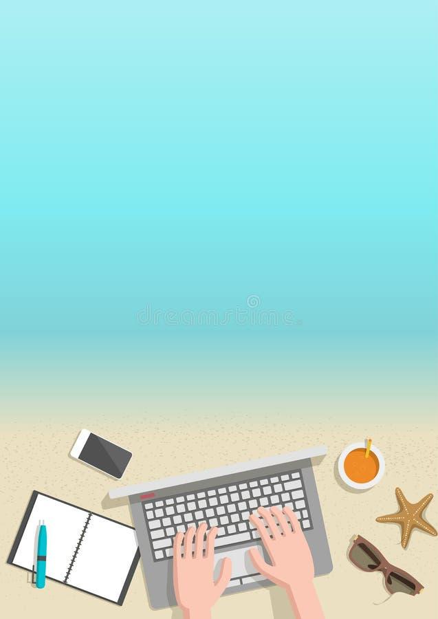 De conceptuele verticale zakenman die van de de zomerbanner aan strand werken royalty-vrije illustratie