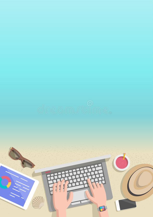 De conceptuele verticale zakenman die van de de zomerbanner aan strand werken vector illustratie