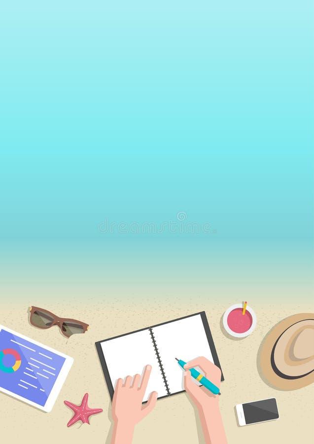 De conceptuele verticale zakenman die van de de zomerbanner aan strand werken stock illustratie