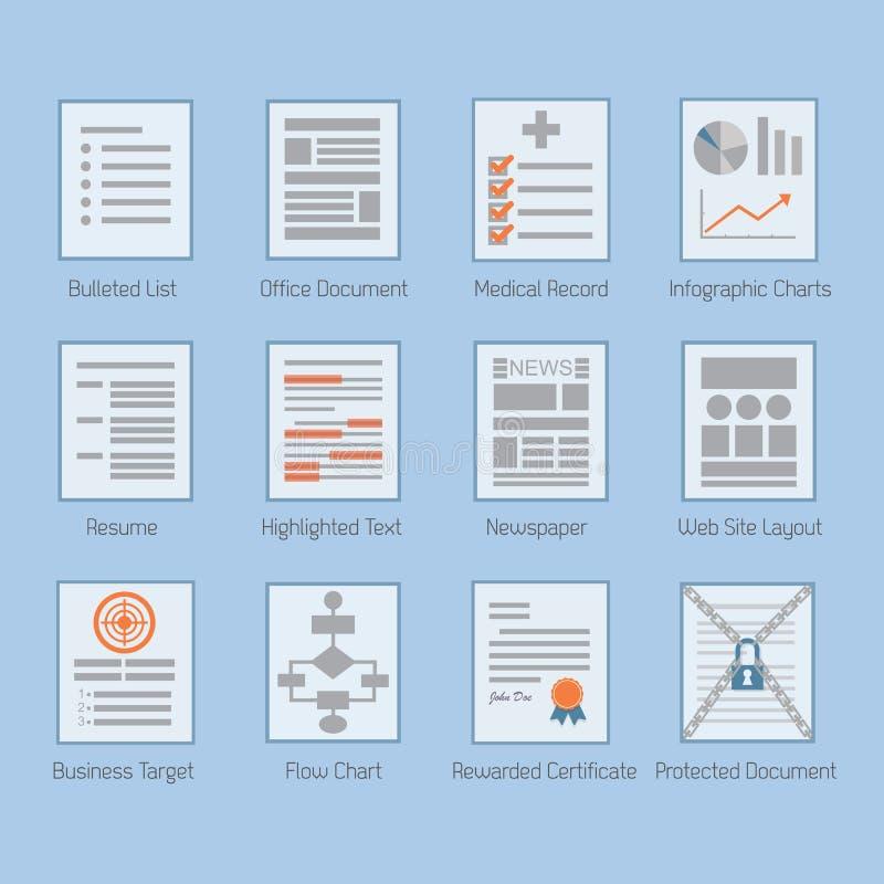 De conceptuele Web en document geplaatste pictogrammen van documentlay-outs royalty-vrije illustratie