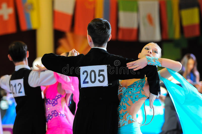 De concurrentie van de danssport stock foto's